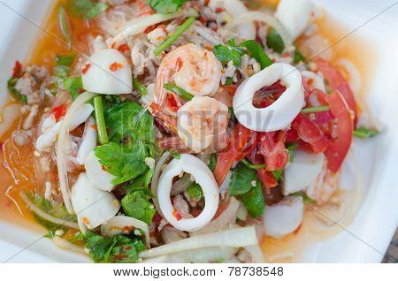 Spicy vermicelli salad, Thai food name yum woon sen poster