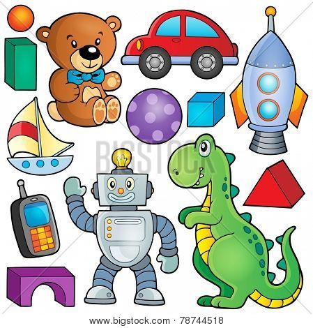 Collection with toys theme 2 - eps10 vector illustration.