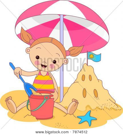 Little Girl under umbrella
