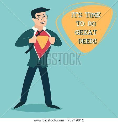 Happy Smiling Businessman Turns in Superhero Suit under Shirt Icon on Stylish Background Retro Carto