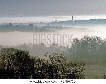 Dawn Mist Over The Village