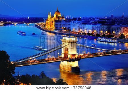 Panorama of Budapest Hungary with Danube river Chain Bridge and the Parliament at blue hour poster