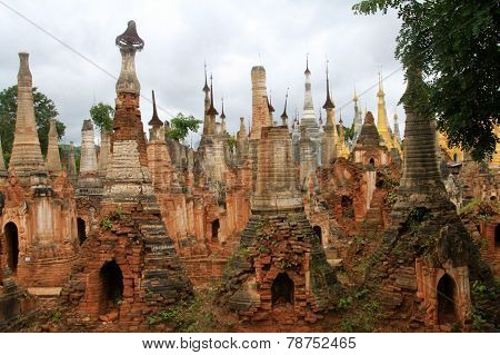 Temples at indein village in Myanmar
