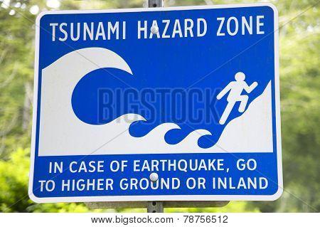 Tsunami And Earthquake Hazard Zone Signal In Vancouver. Canada