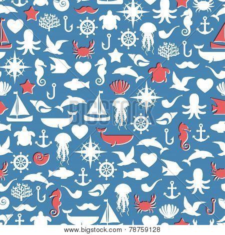 Seamless patterns of marine symbols. Vector illustration.