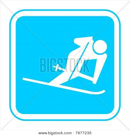 Blue Sign on a white background
