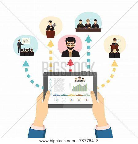 Hands holding a tablet, vector illustration eps 10