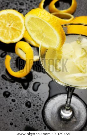 Natural Lemonade In Cocktail Glass