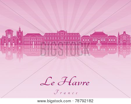 Le Havre Skyline In Purple Radiant Orchid