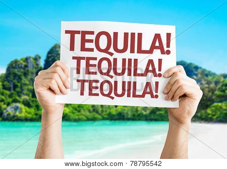 Tequila! Tequila! Tequila! card with a beach on background