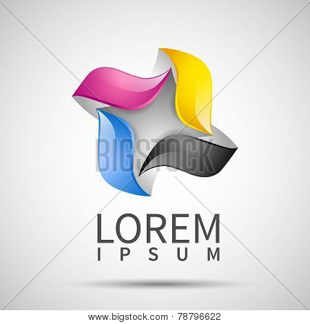 business template with CMYK icon logo