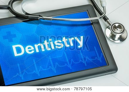 Tablet with the text Dentistry on the display
