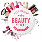 beauty store emblem with type design and cosmetics poster