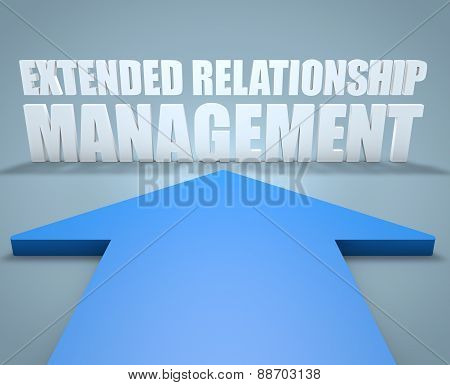 Extended Relationship Management - 3d render concept of blue arrow pointing to text. poster