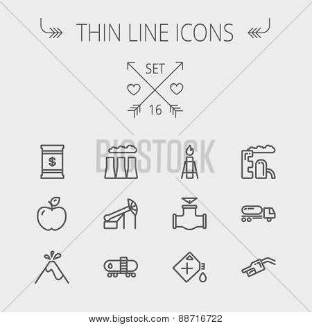 Ecology thin line icon set for web and mobile. Set includes - gas tank, truck, nozzle, container, pipe, valve, volcano, factory icons. Modern minimalistic flat design. Vector dark grey icon on light
