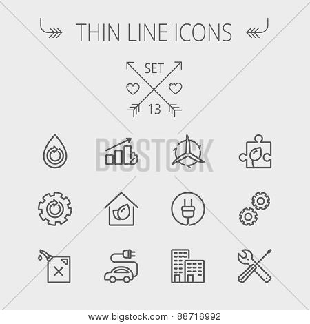 Ecology thin line icon set for web and mobile. Set includes- gear wheel, gas pump, leafs, tools, plug, building, electric car icons. Modern minimalistic flat design. Vector dark grey icon on light