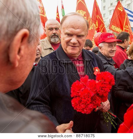 MOSCOW, RUSSIA - MAY 1, 2013: During the celebration of May Day in the centre of Moscow. Gennady Zyuganov (First Secretary of the Communist Party of the RF) during procession.
