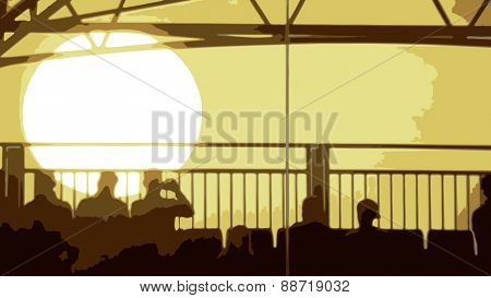 Vector of an Evening Sunset with People Sitting in the foreground
