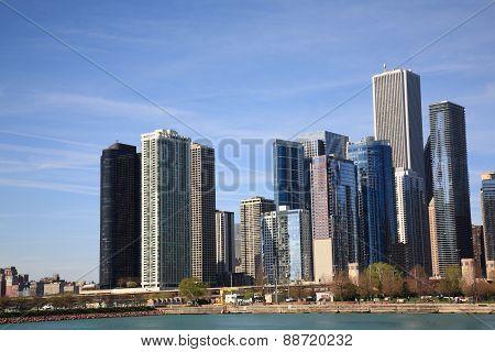 Chicago Skyline On Lake Michigan