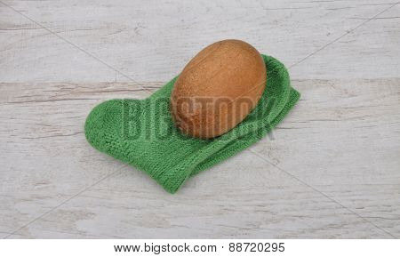 Darning Egg And Hand-knitted Sock
