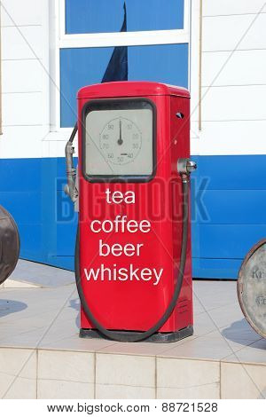 Gas Station With Inscriptions: Tea, Coffee, Beer, Whiskey