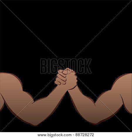Arm Wrestling Muscle Power Strong Black Men