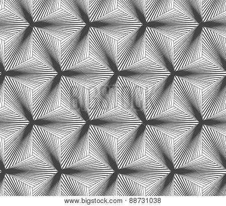 Monochrome Gradually Striped Black Three Ray Stars