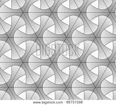 Monochrome Gradually Striped Tetrapods And Grid