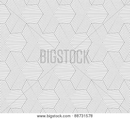 Slim Gray Striped Hexagons Forming Tetrapods