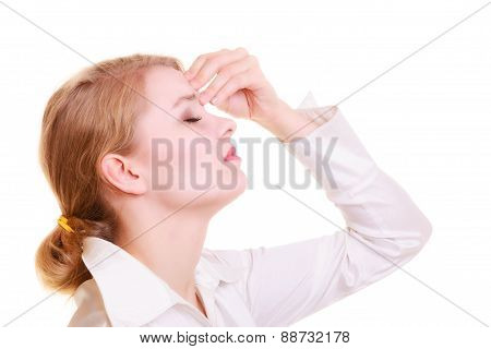 Headache migraine and sinus ache. Stressed businesswoman worried young woman suffering from head or nose pain isolated on white. poster