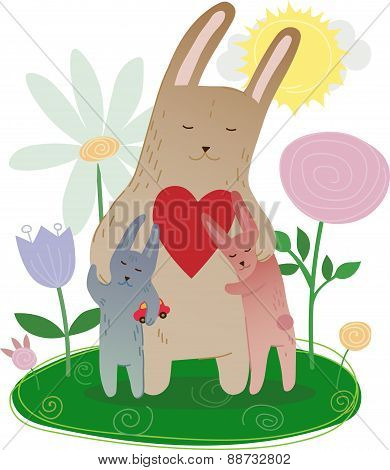 Mom Bunny together with leverets in flowers vector