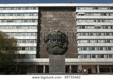 CHEMNITZ, GERMANY - MAY 8, 2012: People in front of the Karl Marx Monument by Soviet sculptor Lev Kerbel in Chemnitz, Saxony, Germany.