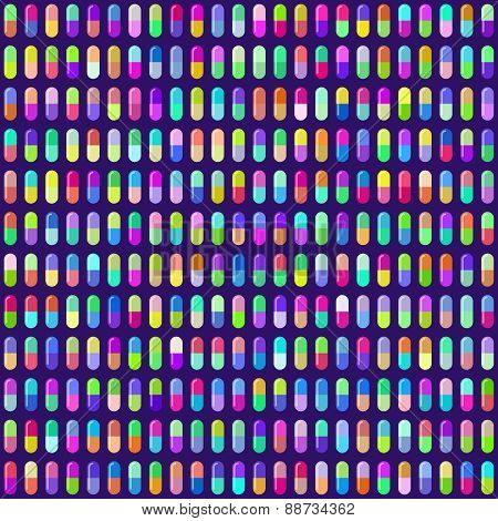 Multicolored Pill Capsules Seamless Background. Eps10 Vector