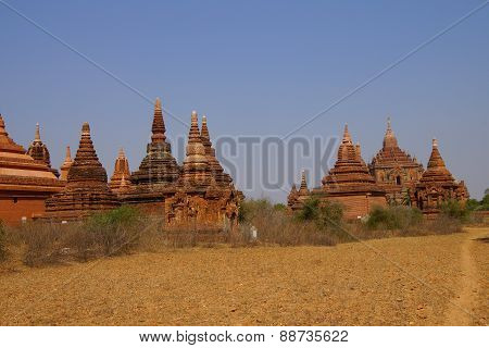 Red Sandstone Stupas And Temple