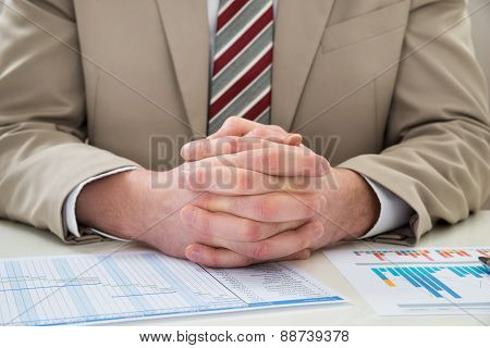 Businessman With Gantt Chart