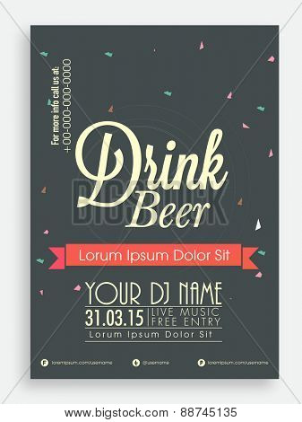 Drink Beer template or flyer design for club, pub or night beer party.