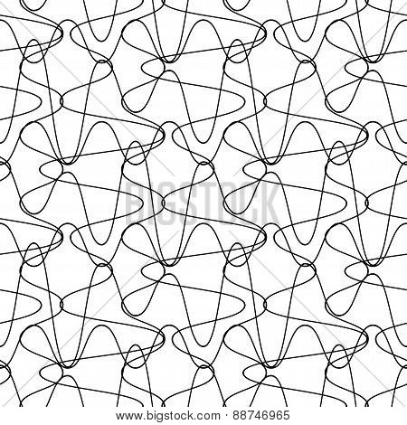 Black And White Seamless Pattern Wave Line Style, Abstract Background.