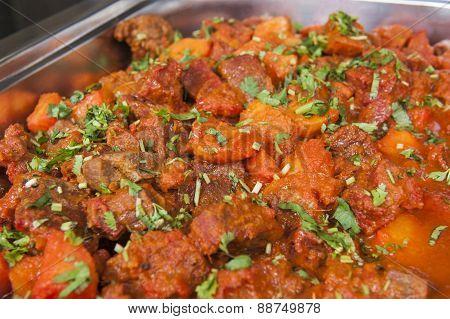 Beef Vindaloo Curry At An Indian Restaurant Buffet