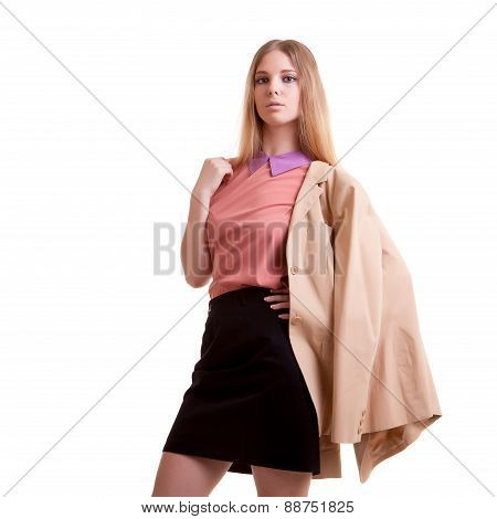 Young Businesswoman With Jaket On Shoulder