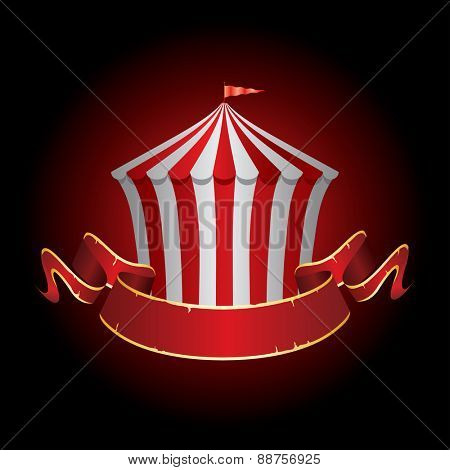 circus tent icon with grunge banner