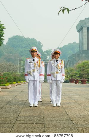 Guards At The Ho Chi Minh Mausoleum.