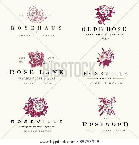 Vector rose label set.