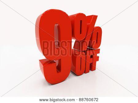 9 percent off. Discount 9. 3D illustration