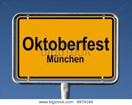 Street sign Oktoberfest in Munich, Germany