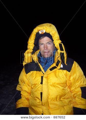 Mountain Climber In Down Parka