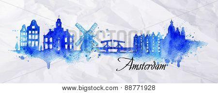 Silhouette watercolor Amsterdam