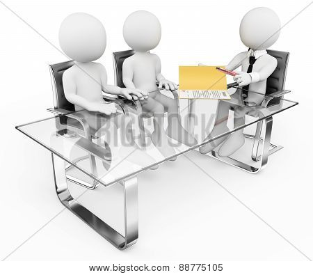 3D White People. Couple In The Bank Signing A Contract