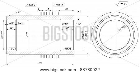 Sketch of shaft. Engineering drawing with lines, hatching, angle degrees and numbers. Vector image poster