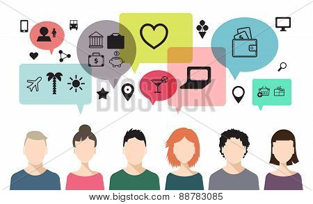 vector banner of speaking people, chat, teem work, social net poster