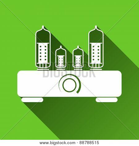 Tube Amplifier Icon, Long Shadows, Vector Illustration